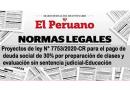 ✅Proyectos de ley N° 7753/2020-CR para el pago de deuda social de 30% por preparación de clases y evaluación sin sentencia judicial-Educación