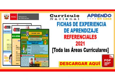 ✅[IMPORTANTE] FICHAS DE EXPERIENCIA DE APRENDIZAJE  – REFERENCIALES 2021[Toda las Áreas Curriculares]👈