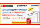 ✅[MINEDU] Guía Docente para la Planificación curricular de la EXPERIENCIA DE APRENDIZAJE N°4 – Primaría [del 21 de Junio al 23 de Julio] Descargar gratis👈